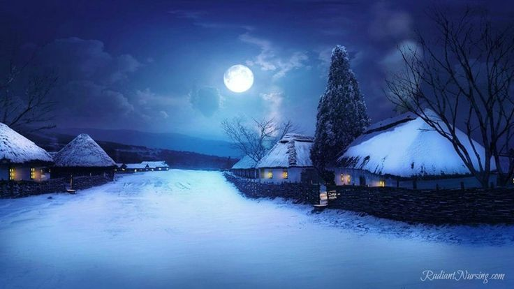 Winter Solstice, Celebrating Yuletide. A full moon on a winter's night.