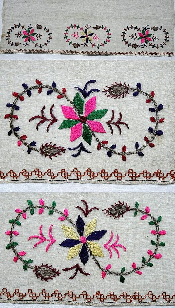Details of a large embroidered headscarf, Crimean Tatar, from Turkey, 1870-1920.  Called 'marama'.  Embroidered on cotton (muslin), 67 x 144 cm.  Each motif repeated three times; height of embroidery (from the tip of leaves to the edge of cloth): 12 cm. Border in double running stitch (a common design in Crimean Tatar embroidery). (The Asiye-Zeynep Collection, Washington DC).