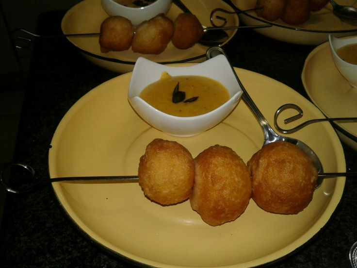 Magwenya (mini fat cakes)  with creamy butternut soup
