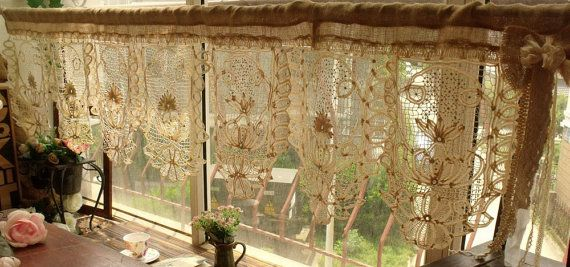 50 wide GORGEOUS ANTIQUE Lace Valance with bow by BetterhomeLiving