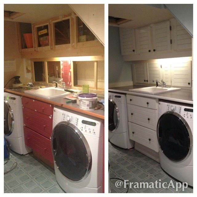 Before and after laundry room.  These were old cupboards someone was throwing away.  We took them and saved them from the dump and made them into our laundry room.      I love repurposing :)