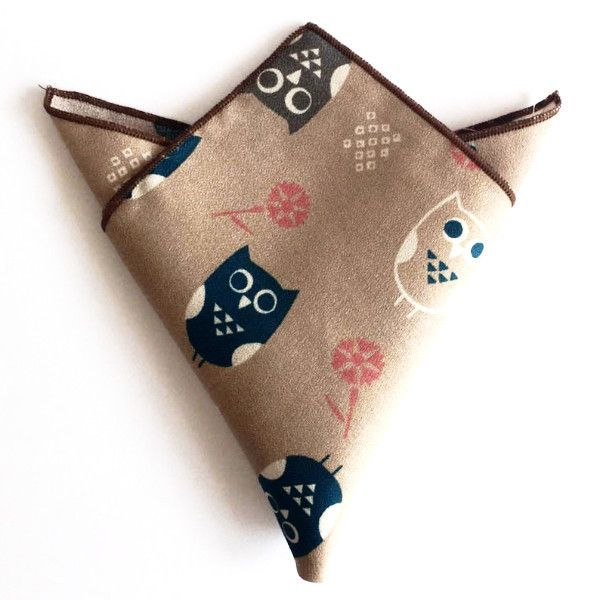 The Owl Brown Pocket Square