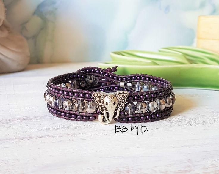 Bracelet wrap en cuir femme.Thème éléphant.Manchette en perles de verre style bohème,hippie dark mauve argenté.Boho leather beaded bracelet