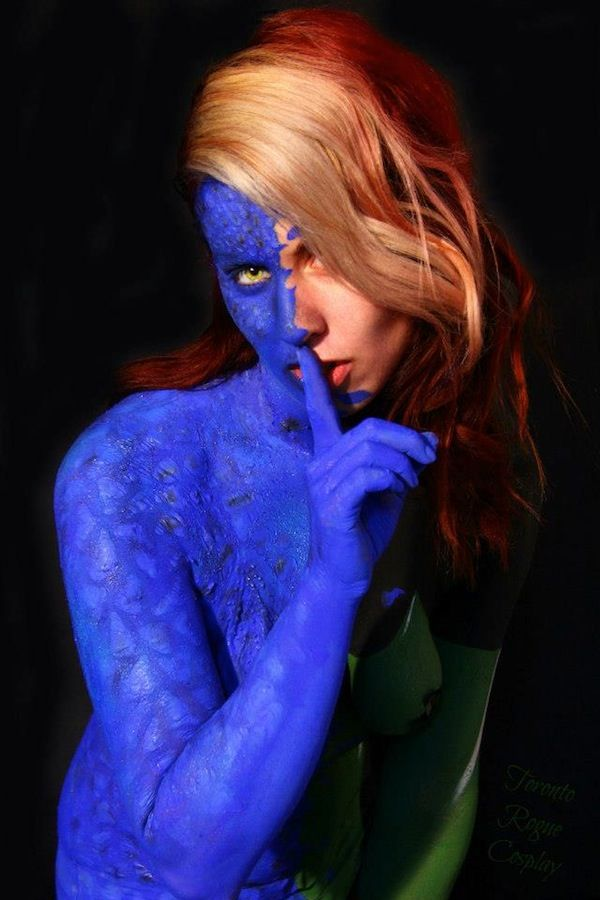Mystique into Rogue body paint cosplayl, CLICK ON http://pinterest.com/lsltheman2000/sexy-geek-you-will-love/ To See More Sexy Geeks>>>>>>> >>>>>>CLICK ON  http://pinterest.com/lsltheman2000/add-me/  TO BE ADDED.