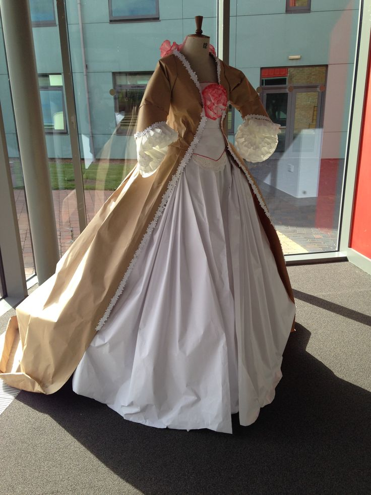 1775 paper dress for uni, made by me, sam and reece