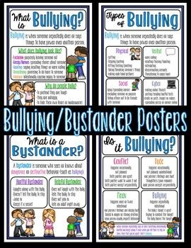 Adapted from Open Circle, these mini-anchor charts are the perfect way to remind students how to deal with bullying and being a bystander. Includes: What is a Bystander? What is Bullying? Types of Bullying Is it Bullying? *Bonus: Is it Bullying? Worksheet