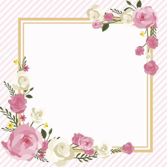 Watercolor Flower Border Or Frame Peony Spring