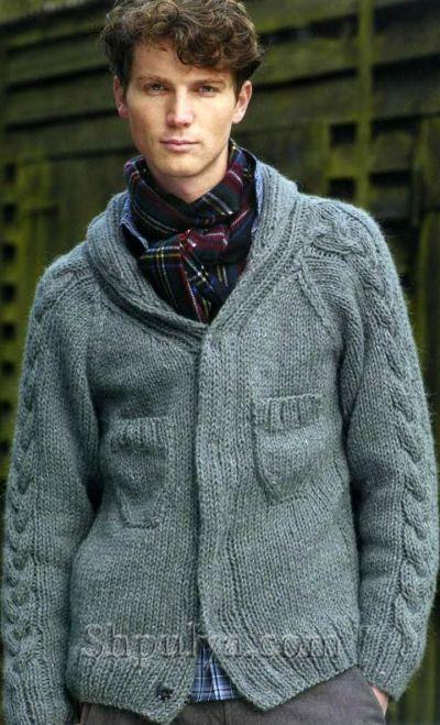 Серый мужской жакет с карманами, вязаный спицами