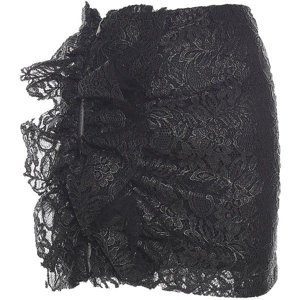 Msgm  Ruched Lace Mini Skirt (5.021.775 IDR) ❤ liked on Polyvore featuring skirts, mini skirts, nero, lacy skirt, msgm, short mini skirts, short skirts and msgm skirt