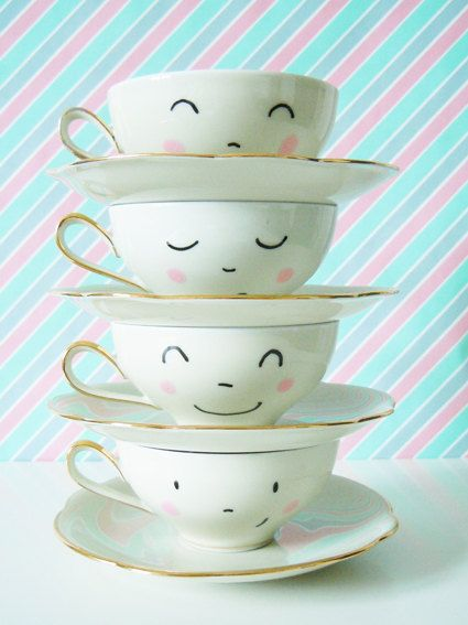 Set of 4 Vintage hand painted sweet little faces tea cups