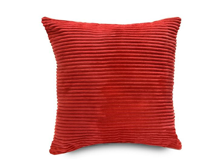 "CAD $15. Soft ribbed cushion cover. Bright red. 18"" × 18""."