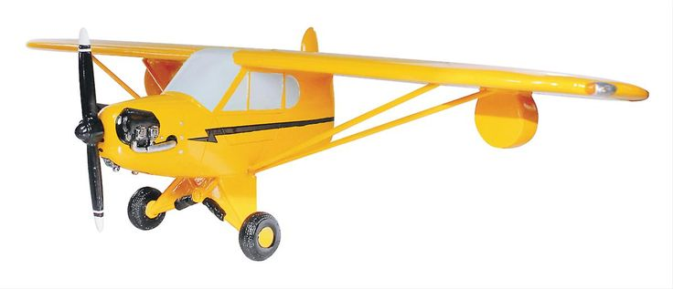 """Piper J3 Cub Wall Shelf:  Around the time of WWII, the Piper J3 Cub was a popular training plane—it was lightweight, simple, and affordable. This resin-cast replica of the Cub's distinctive front half will look great amongst your other vintage collectibles, and you can even place those collectible on top of the wing, which doubles as a shelf. 18"""" L x 4"""" H x 6.5"""" D"""