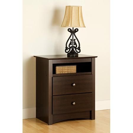 Edenvale 2-Drawer Tall Nightstand With Open Cubbie, Espresso