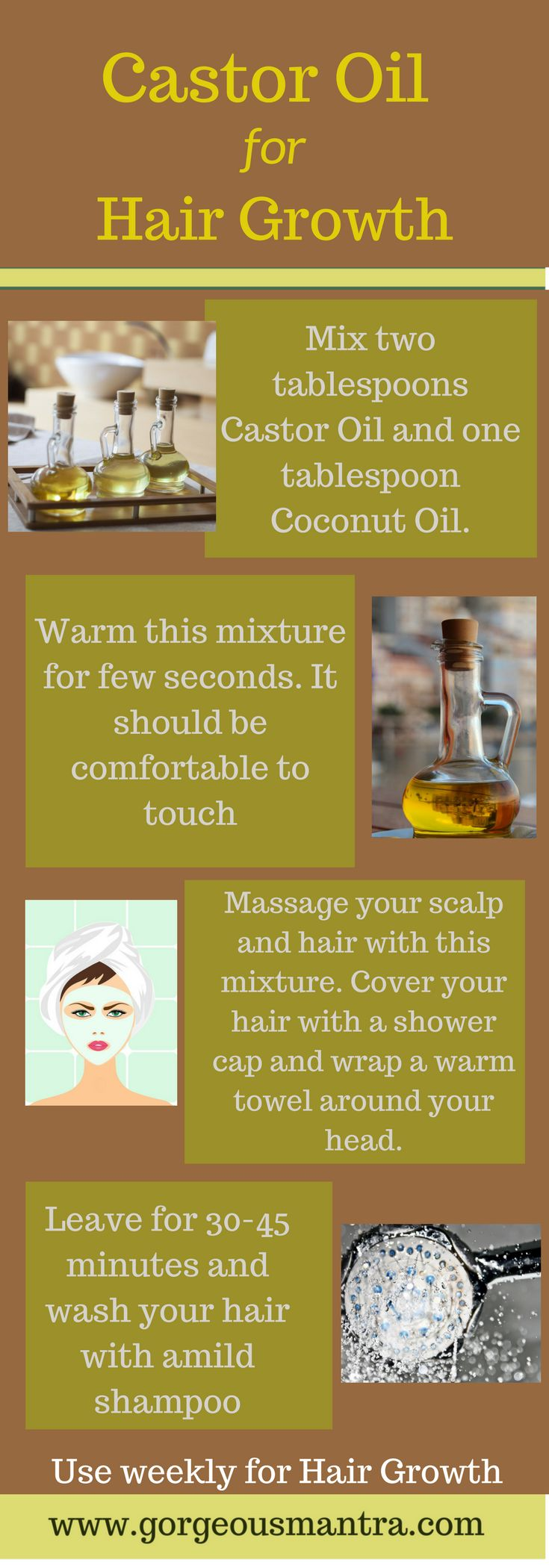 How to use castor oil for hair growth? Use this castor oil treatment for improving hair growth.