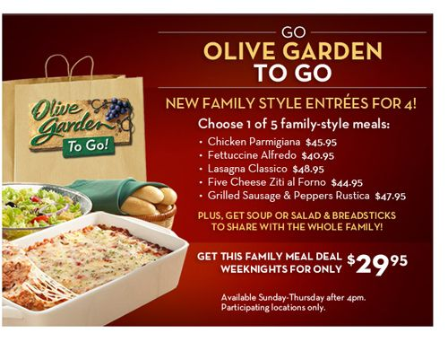 Olive Garden Weeknight Family Style Meals Las Vegas