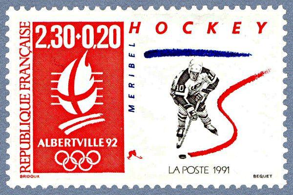 Zoom sur le timbre «Hockey - Méribel Jeux Olympiques d´hiver - Albertville 92»
