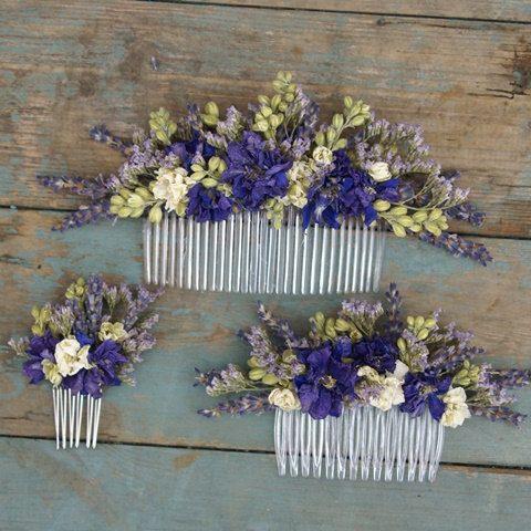 Provence Dried Flower Hair Comb by EnglishFlowerFarmer on Etsy