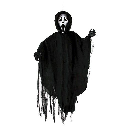 Ghost Face Hanging Figure. This is a 36 inch tall hanging figure of the classic Ghost Face, as seen in the Motion Picture, Scream 4!  This hanging figure features the classic white ghost face mask with black fabric, robe and hood, with black tattered gauze overlay. Ghost face head measures 8 inches x 5 inches x 3 inches. Arms measures 16 inches from mask. Mask and hands are made from plastic material. This is a decoration only – not a toy. Recommended for ages 15 and up. Prop only, ...