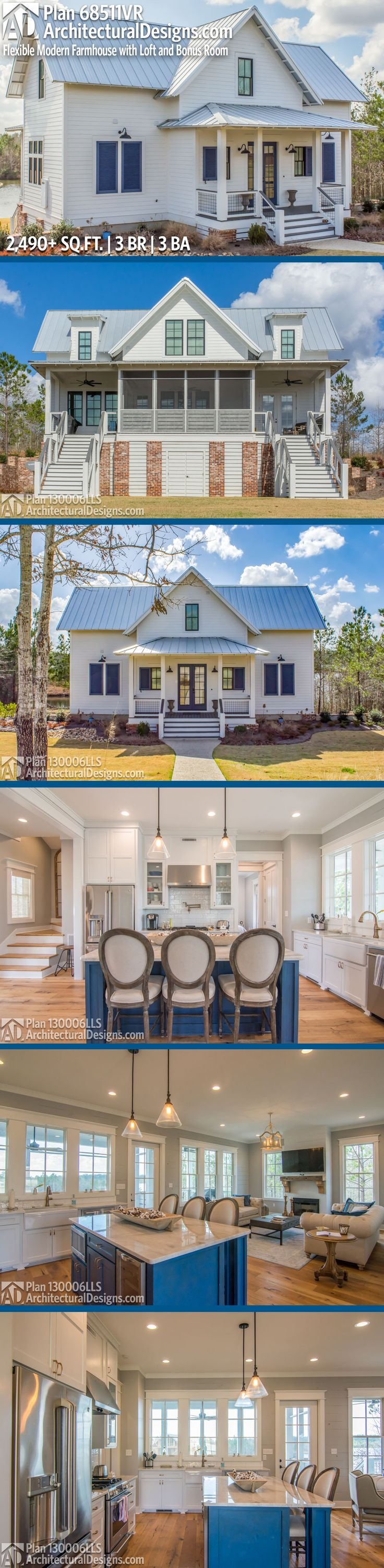 Architectural Designs Modern Farmhouse House Plan 130006LLS has 3 beds | 2.5 baths | 1,500+ square feet of heated living space. Kitchen layout