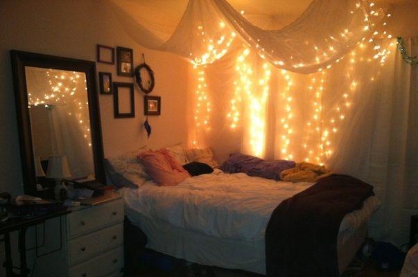 String Lights Under Sheer Drape Over Bed Bedroom