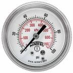 P9S 90 Series 2 in. Black Steel Case Pressure Gauge with 1/4 in. NPT Center Back Connect and Range of 0-100 psi/kPa