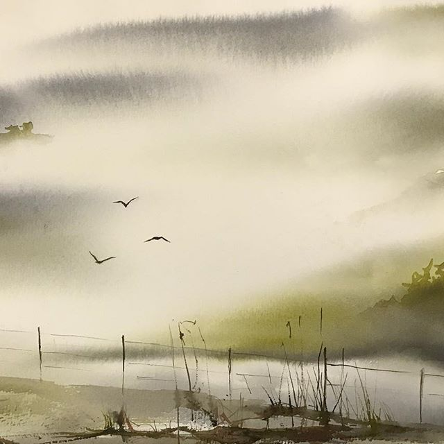 Birds in foggy landscape #akvarell #watercolor #watercolour #aquarelle #fog #mist #cartel_watercolorists #waterblog #aquarellegallery #birds #timetoart #акварель #kunst #aquarell #konst #konstnär #örebro #artist