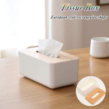 SOLOOP Luxury Tissue Box Cover Paper Napkin Holder Plastic Case Home Bathroom Car Decor