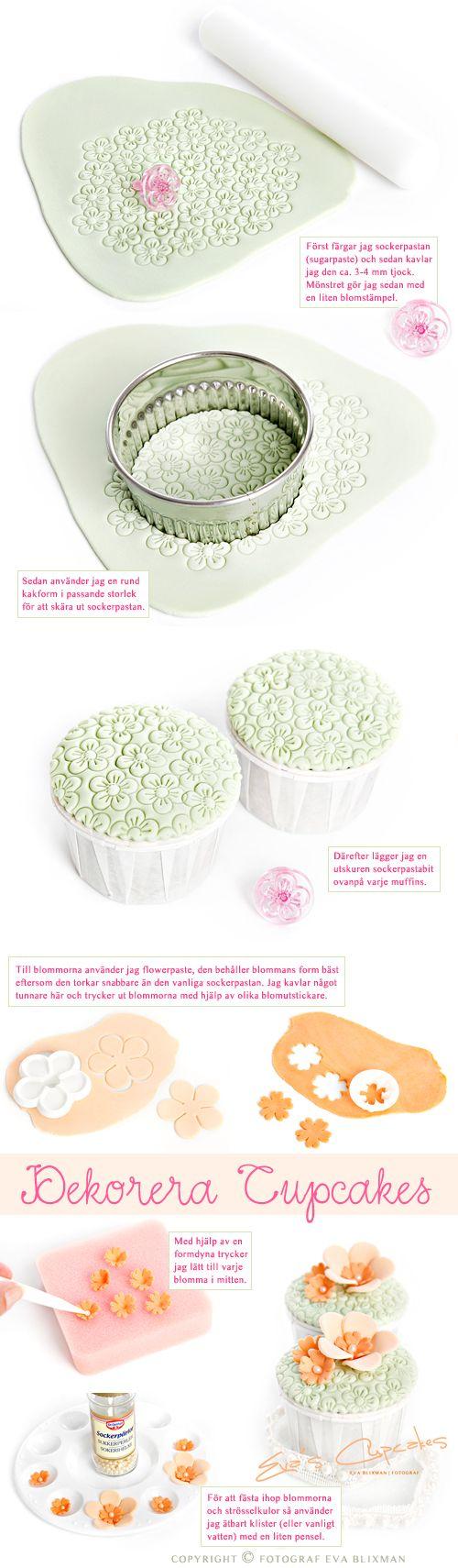 Easy cupcake decorations.  www.decorazionidolci.it idee e strumenti per il #cakedesign