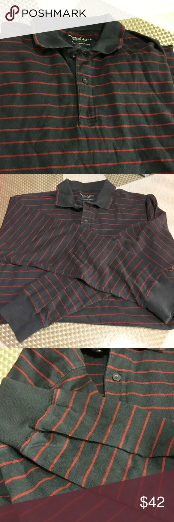 American eagle men's  long sleeves polo American eagle like new  men's long sleeves polo style. Navy blue with thin red stripes. Absolutely in excellent condition. Soft gorgeous warm fabric American Eagle Outfitters Shirts Polos