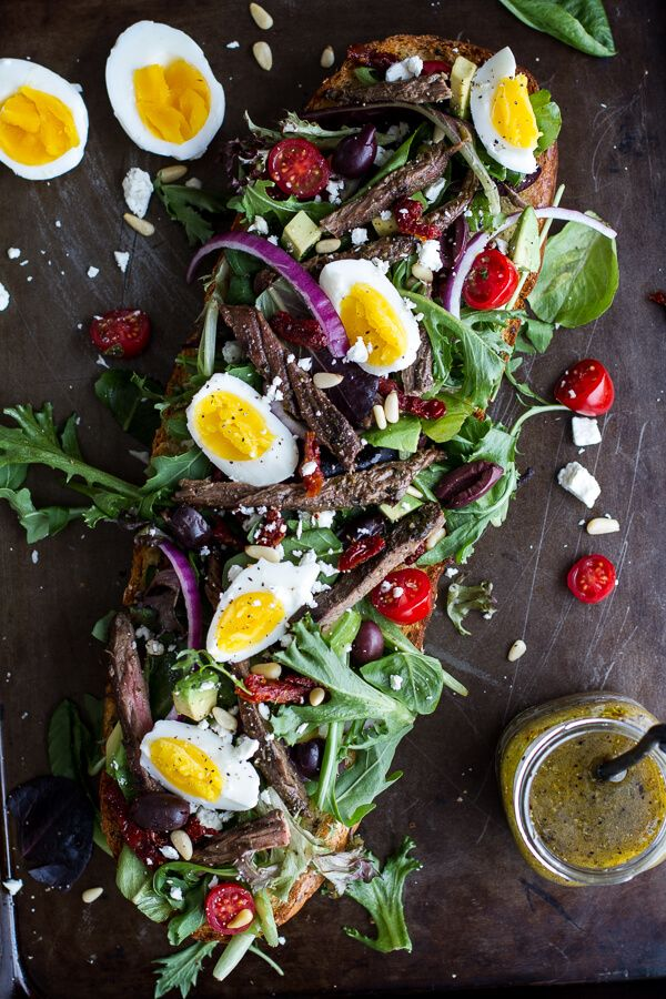 Greek Steak Salad French Bread with Soft Boiled Eggs + Feta.