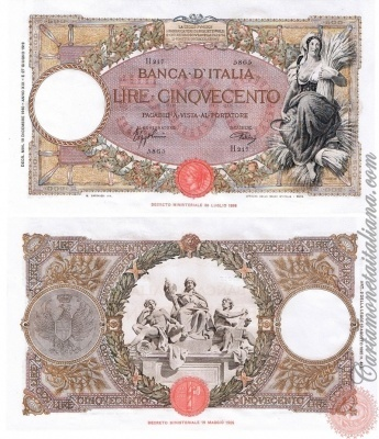 Cartamoneta Italiana .com - Museo Virtuale - : Banca d'Italia – Regno d'Italia - Foto: 500 LIRE - Capranesi - mietitrice (Roma- fascio) - N 24
