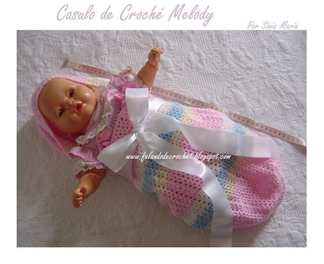 FALANDO DE CROCHET: CASULO MELODY - CASULO DE CROCHÊ PARA BEBÊ (CROCHET BABY COCOON)