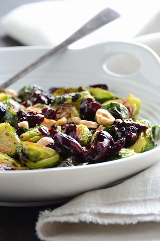 Caramelized Brussels Sprouts with Dark Cherry Sauce and Hazelnut Recipe