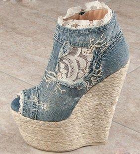 Love the Shoes / DENIM LACE UP WOMEN HIGH HEEL SHOES LADIES PUMPS ||