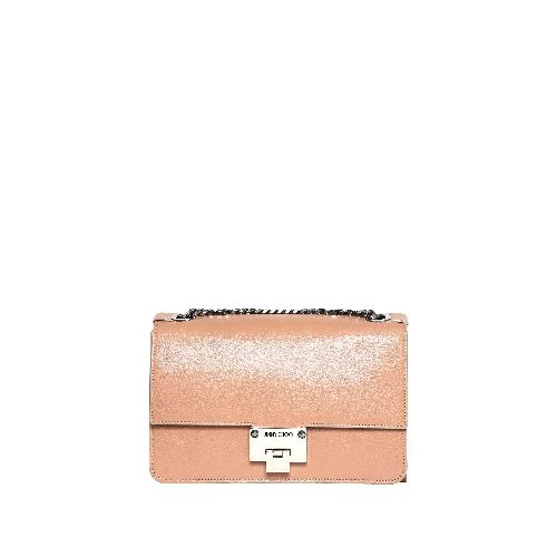 Rebel messenger style mini cross body bag in soft ballet pink leather from Jimmy Choo. Short chain and adjustable leather shoulder strap, two main interior compartments, slim and zipped pockets and signature Rebel lock closure.