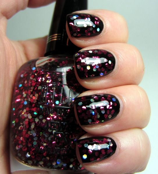 nail paintingPolka Dots, Nails Art, Glitter Girls, Black White, Glitter Nails, Parties Nails, Hot Pink, Nails Painting, Nails Polish