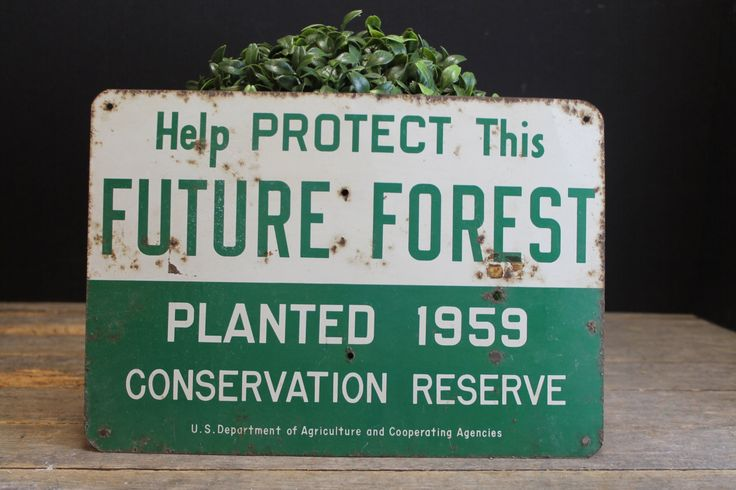 Vintage Metal Sign Furture Forest Conservation  // Rusty // Industrial by MyBarn on Etsy