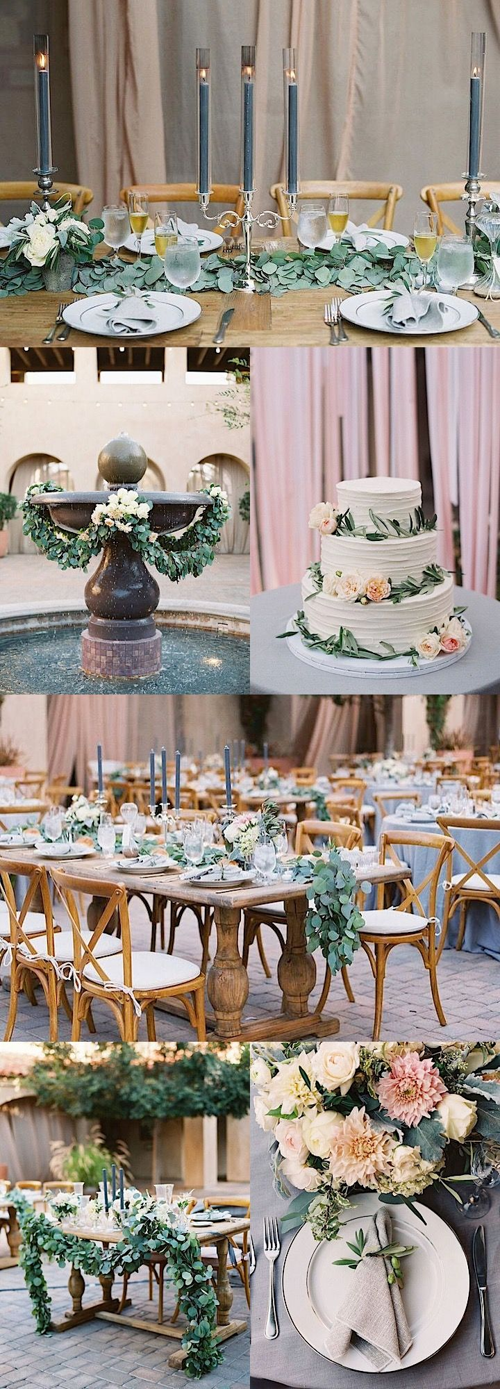 Beautiful wedding with green, pink, blue and blush color palettes; photo:  Diana