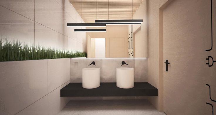 Łazienki w siedzibie firmy zajmującej się dostarczaniem energii elektrycznej. Projekt: ARTECUBO. #bathroom #modern #design #interior #light #wood #plants  #chors #lightning #artecubo #wroclaw