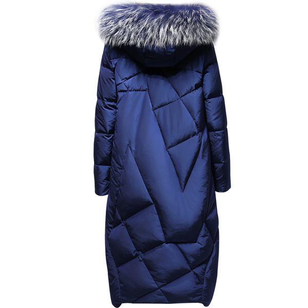 2016 зима Новый Женский длинный участок корейский большой меховой воротник пуховик женский над колена тонкий зимние сгустить куртка