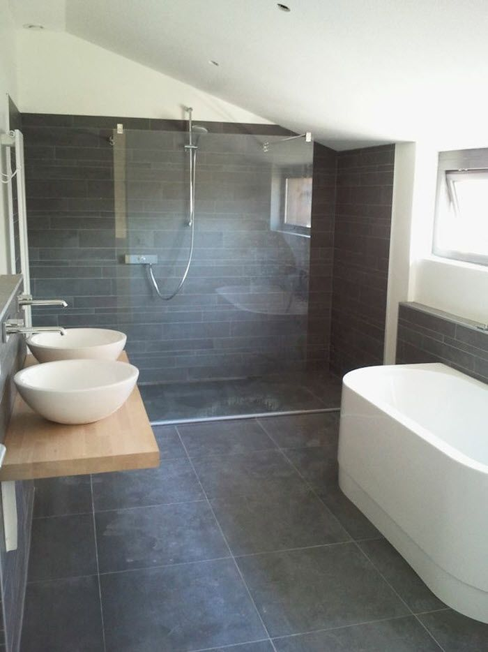 Charming 39 Dark Grey Bathroom Floor Tiles Ideas And Pictures Part 10