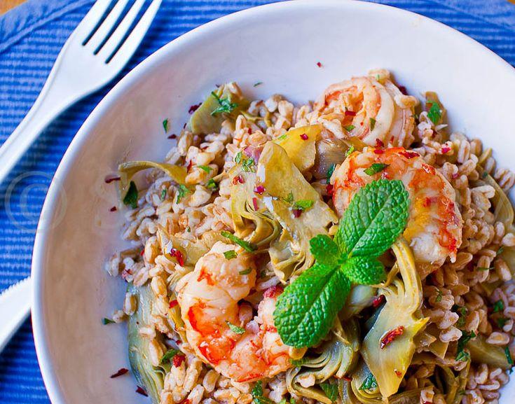 Spelt Salad with shrimp and artchockes