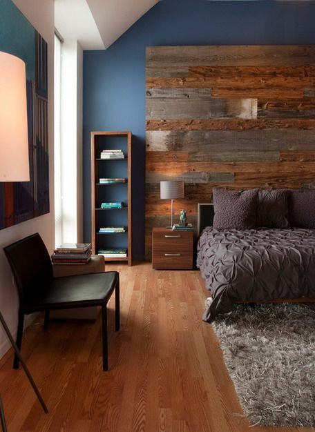 Wooden wall behind the bed!  (Blue Wall Color Scheme and Wooden Flooring in Modern Bedroom Design Ideas)