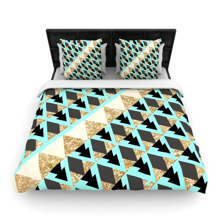 """Nika Martinez """"Glitter Triangles in Gold & Teal"""" Blue Brown Woven Duvet Cover"""