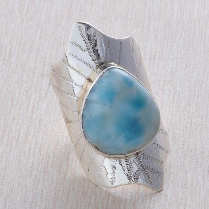 925 STERLING SILVER LARIMAR 10.14g ANTIQUE DESIGNER RING JEWELLERY R03648 #Handmade #RING