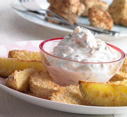 rezept-Kartoffelspalten mit Gemüsequark für Kinder