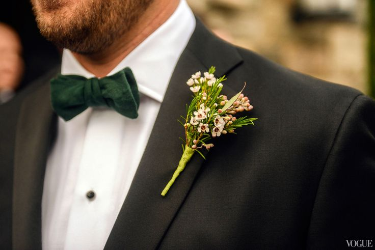 A detail shot of my handsome husband in his Tom Ford tux and custom Andrew's bow tie.  My friend and bridesmaid, Emily Andrews, made all of the dark green linen bow ties.  She modeled them after a vintage bow tie of Ben's.
