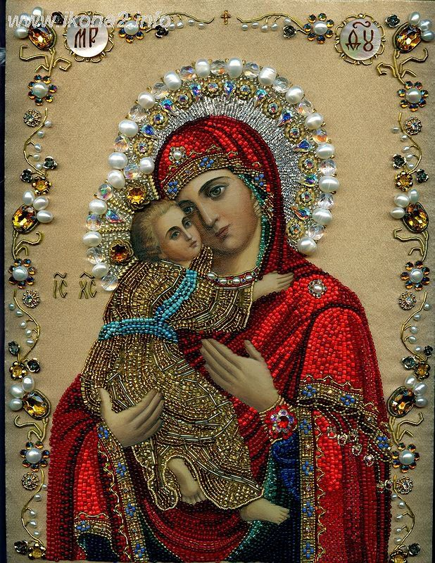 ..Dolcissima Maria Beaded picture of Madonna and Child