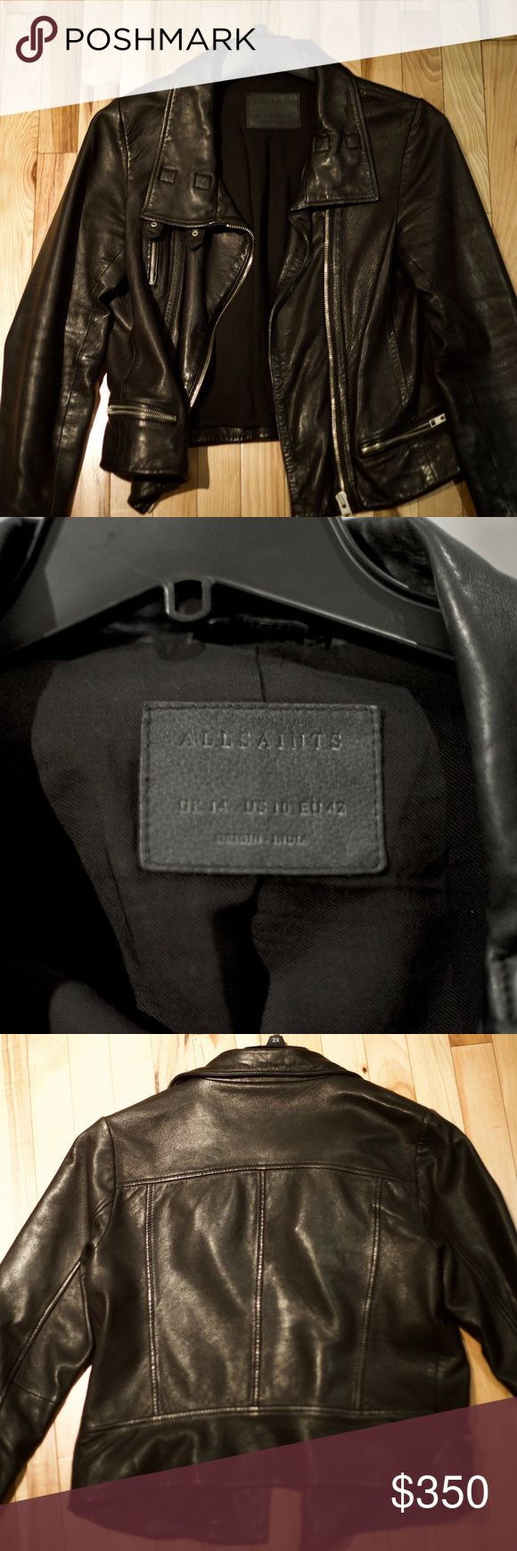 Allsaints Bales Leather Biker Jacket Gently-worn genuine All Saints leather jacket, US size 10, UK size 14,  EU 42 All Saints Jackets & Coats