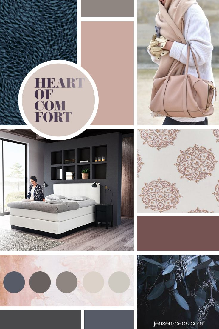 Beautiful shades of deep blue and hues of dusty pink gives your bedroom a luxurious mood. Visit our homepage for more information about our bed collections. Photo: http://hildemork.bigcartel.com/ http://www.egecarpets.com/ http://www.lama.com/ and http://jensen-beds.com/